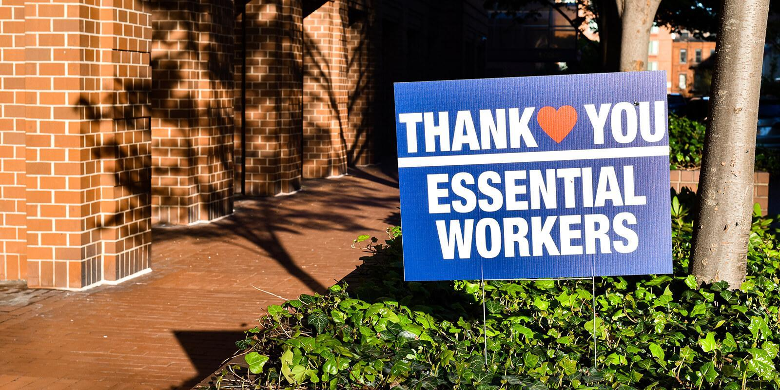 Thank you essential workers sign