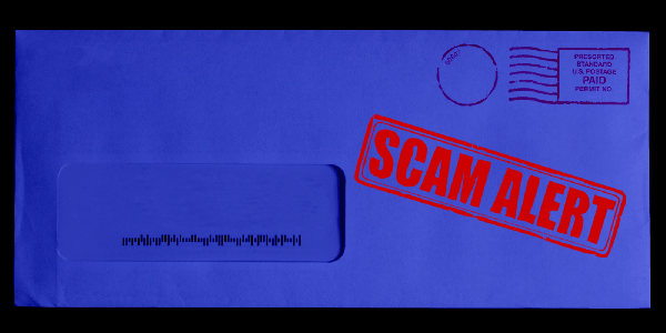 "Blue tinted mailing envelop with bright red ""SCAM ALERT"" stamp"